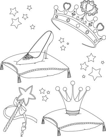 Beautiful princess Collectibles coloring page Vector