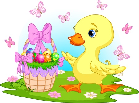 colored eggs: Easter duckling with a basket of eggs - happy Easter!