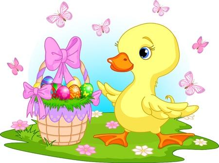 Pasen eendje met een mandje met eitjes - happy Easter! Stockfoto - 9078426