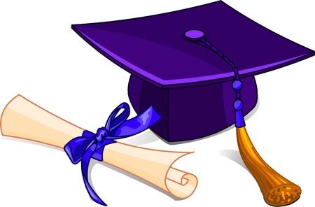 Illustration of graduation cap and diploma Illustration