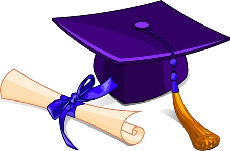 Illustration of graduation cap and diploma Ilustracja