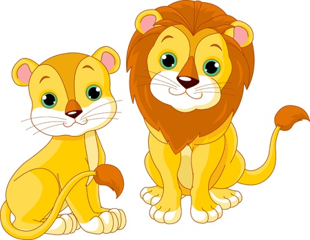 Illustration of cute lion couple