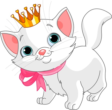 Adorable white kitten with golden ceown Illustration