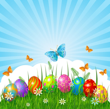 easter holiday: Radial Easter place card  with eggs in grass Illustration
