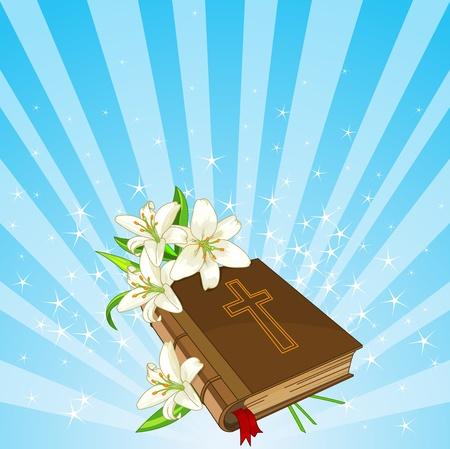 salmo: Radiale Pasqua place card con fiori Bibbia e Giglio