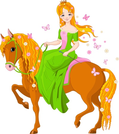 beautiful princess: Spring illustration of Beautiful princess riding horse