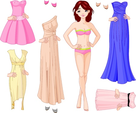 Paper Doll with different evening dresses