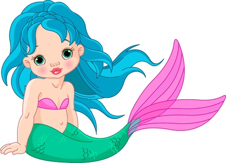 Illustration of a cute baby mermaid girl  Vector