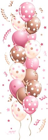Illustration of pink holiday balloons border Stock Vector - 9138575