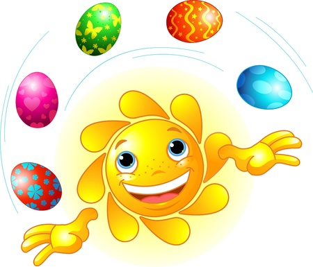 sun: Cute Easter Sun juggling with Easter Eggs