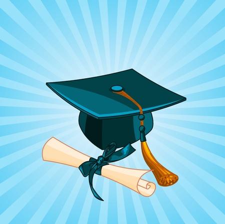 diplom studen: Radiale Hintergrund mit Graduation Cap und Diplom