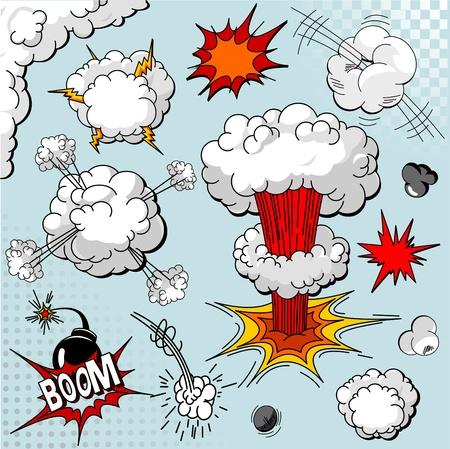 explosie: Comic book explosie elementen voor uw ontwerp Stock Illustratie
