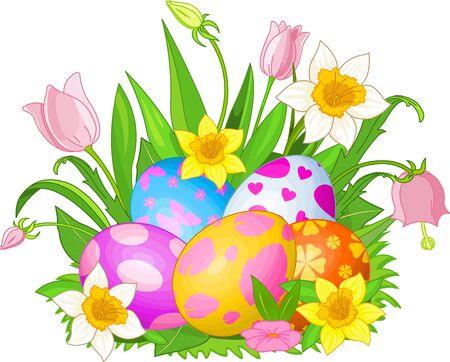 Illustratie van mooie Easter eggs in een gras en bloemen