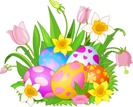 Illustration of beautiful Easter eggs in a grass and flowers