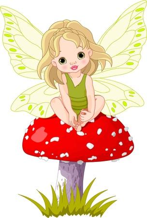 Baby fairy elf sitting on mushroom Stock Vector - 9138592