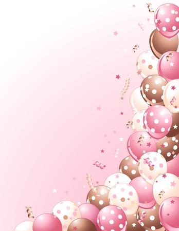 aniversario: Partido globos rosas en un fondo de color rosado Vectores