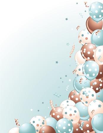 Party Blue Balloons auf blauem Hintergrund Standard-Bild - 9177809