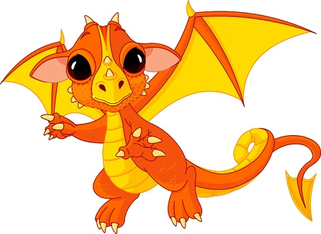 dragon head: Illustration of Cute Cartoon baby dragon flaying