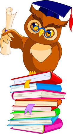 Illustration of a cartoon wise owl with graduation cap and diploma sitting on pile book