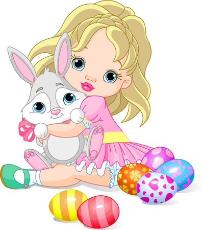girl:  Cute little girl hugging Easter bunny  Illustration