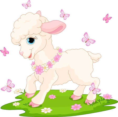 Spring background with Easter lamb and butterflies Vector