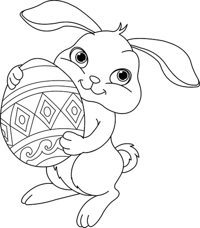 easter bunny: Illustration of happy Easter bunny carrying egg. Coloring page