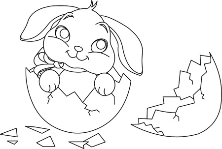 Easter bunny sitting in the broken Easter Egg. Coloring page Vector