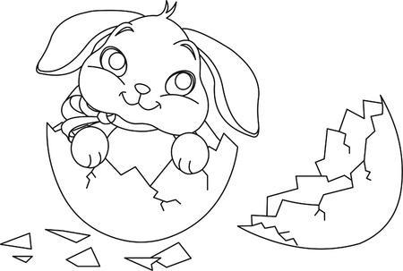 coloring easter egg: Easter bunny sitting in the broken Easter Egg. Coloring page Illustration