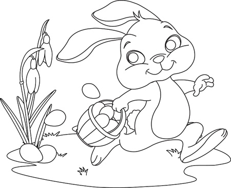 Cute Easter Bunny Hiding Eggs. Coloring page Vector