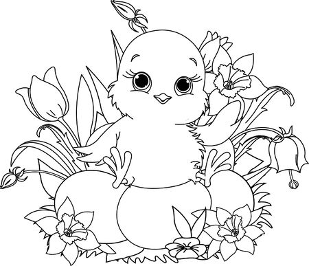 Newborn chick sitting on Easter eggs . Coloring page