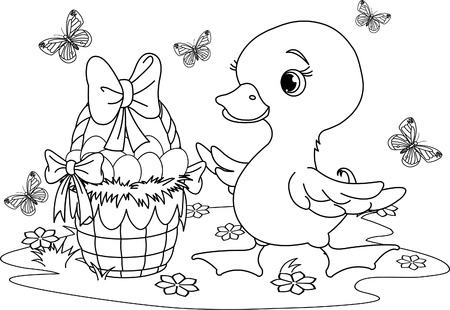 Easter duckling with a basket of eggs . Coloring page Vector
