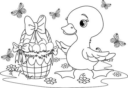 Pasen eendje met een mandje met eitjes. Kleurplaat