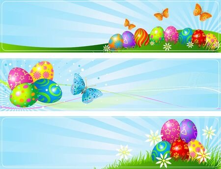 descriptive: Illustrated set of three different Easter banners  Illustration