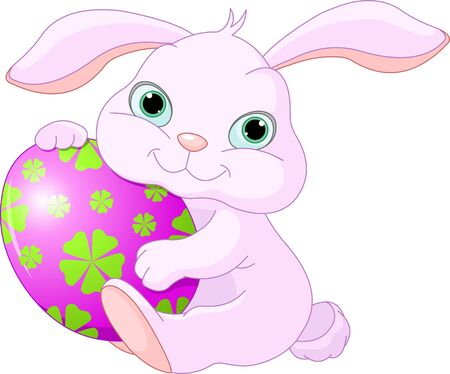amuse: Small lovely Easter rabbit holds Easter Egg Illustration