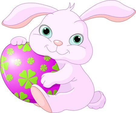 Small lovely Easter rabbit holds Easter Egg Illustration