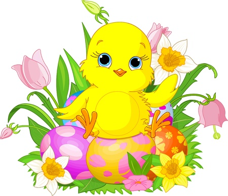 Illustration of newborn chick sitting on Easter eggs