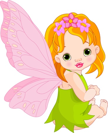 redhair: Sitting cute Baby fairy  Illustration