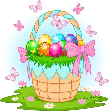 牧草地でカラフルな卵と美しいイースターのバスケット