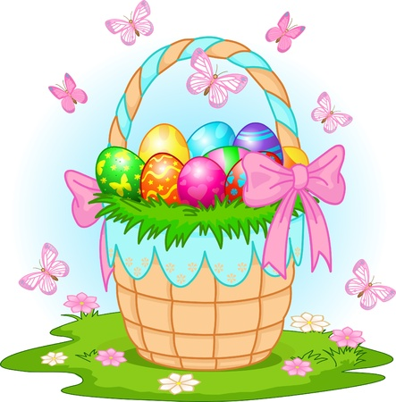 Beautiful Easter basket with colorful eggs on the meadow