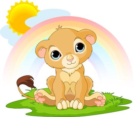 Un personaje lindo del cachorro de León feliz día soleado