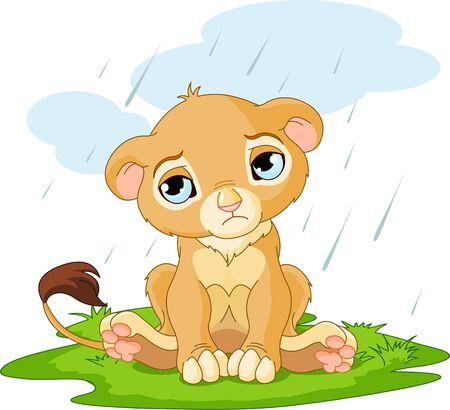 Un personnage cute CUB triste lion sur rainy day Vecteurs