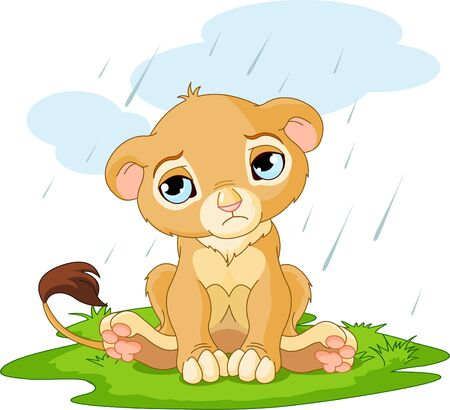cubs:  A cute character of sad lion cub on rainy day
