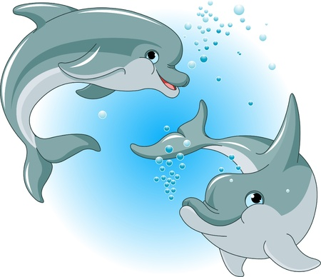 underwater fishes: Illustration of cute Dolphins couple