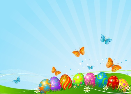 Abstract Easter background with Beautiful coloring Easter eggs on the meadow Stock Illustratie