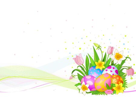 Abstract Easter background with Beautiful coloring Easter eggs Stock Vector - 9295815