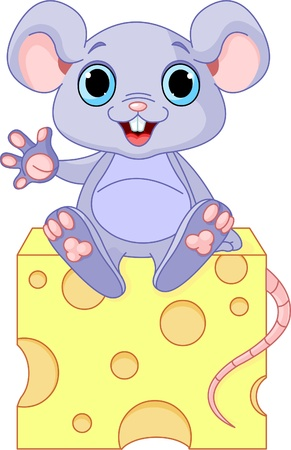 Funny mouse sitting on the piece of  cheese  Ilustração