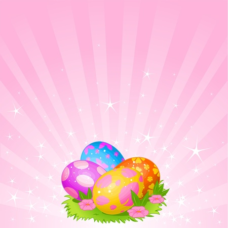 Abstract Easter background with Beautiful coloring Easter eggs on the meadow Vettoriali