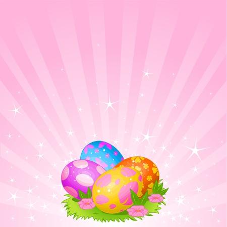 eggshells: Fondo de Pascua abstracto con hermosa colorear huevos de Pascua en el Prado Vectores