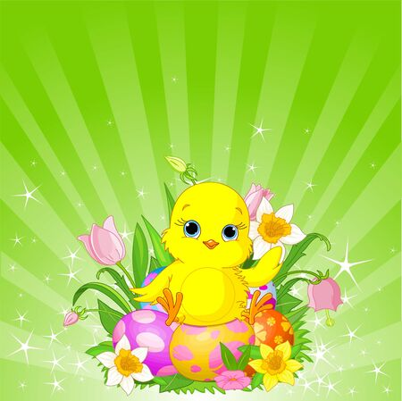 Radial Easter background with chick sitting on the egg
