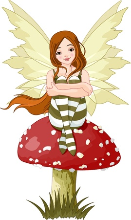 mushroom illustration: Illustration of forest fairy sitting on mushroom